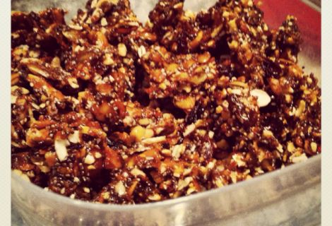 Cereal (granola-brittle!) with sliced almonds, pumpkin seeds, chia ...