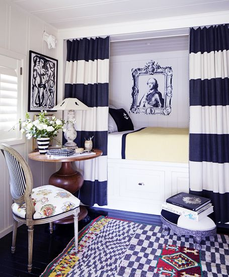 The Best Solutions for Maximizing Your Small Space// kilim, stripe drapery