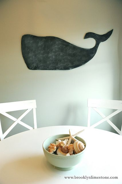 DIY whale chalkboard from Brooklyn Limestone. I don't normally like the ubiquitous blackboard paint on everything, but this whale is just amazing! (Am thinking that it might be possible to do the same with corkboard too, which would also be pretty cool...)