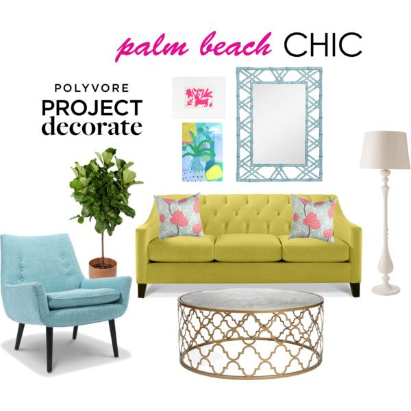 """Colorful Palm Beach Living Room"" by blue11interiors on Polyvore"