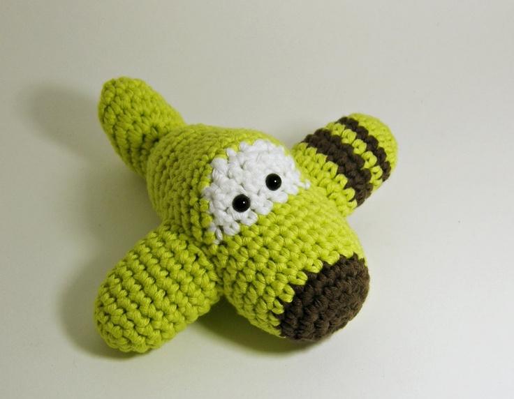 Amigurumi Airplane Crochet Toy Baby Rattle - organic ...