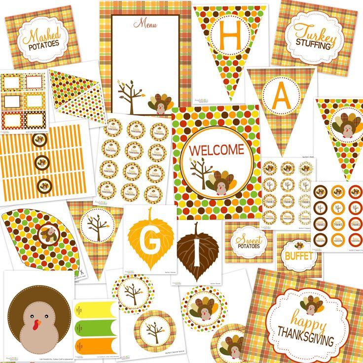 HUGE set of FREE Thanksgiving Printables! DimplePrints Thanksgiving Printable Party Package...FREE! - Dimple Prints