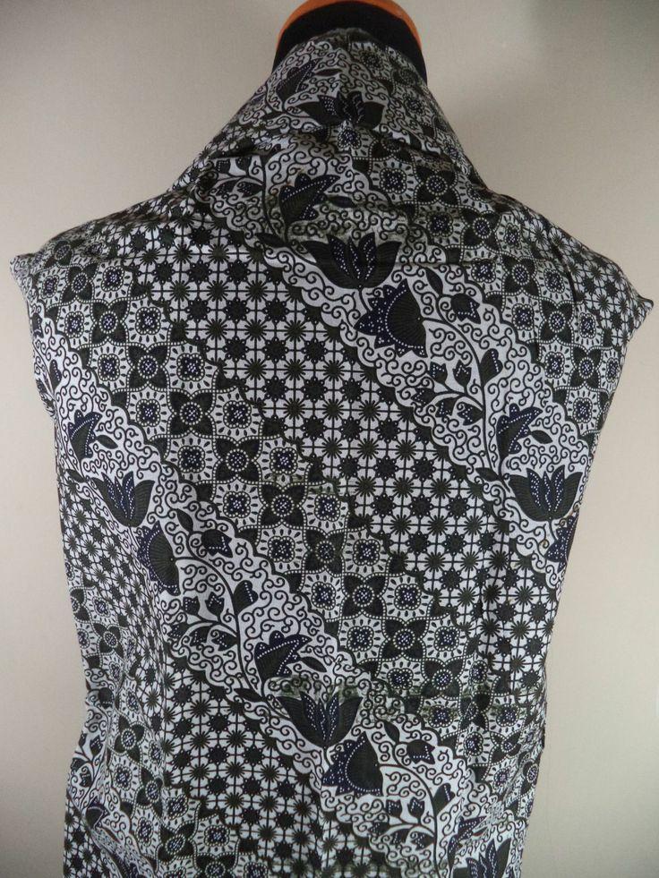 Kain Batik Motif Bunga Kombinasi Hitam Putih Batik Cap tradisional ...