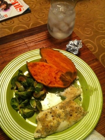 Tilapia, baked Brussels sprouts, and sweet potato