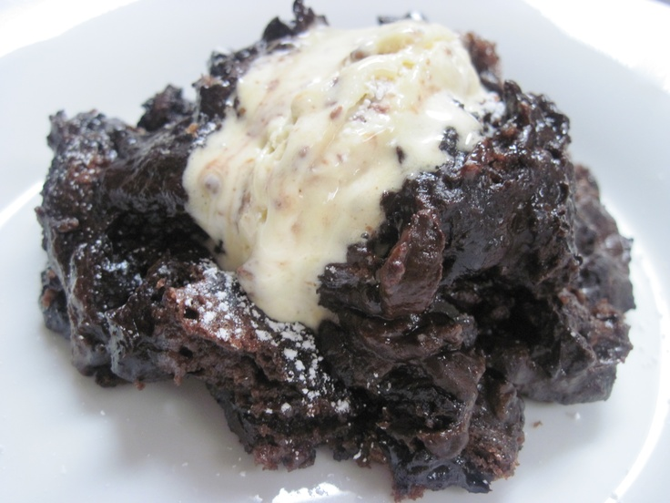 Devilishly delicious chocolate pudding cake, a moist and fudgy cake ...