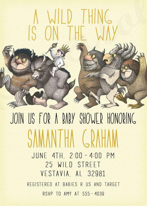 where the wild things are birthday invitation or baby shower invitati