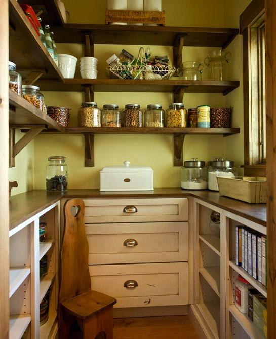 Lovely pantry love the wood shelves kitchen inspiration for Wood shelves for kitchen pantry