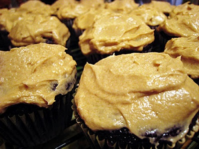 Chocolate-Mayonnaise Cupcakes with Butterscotch Buttercream Frosting
