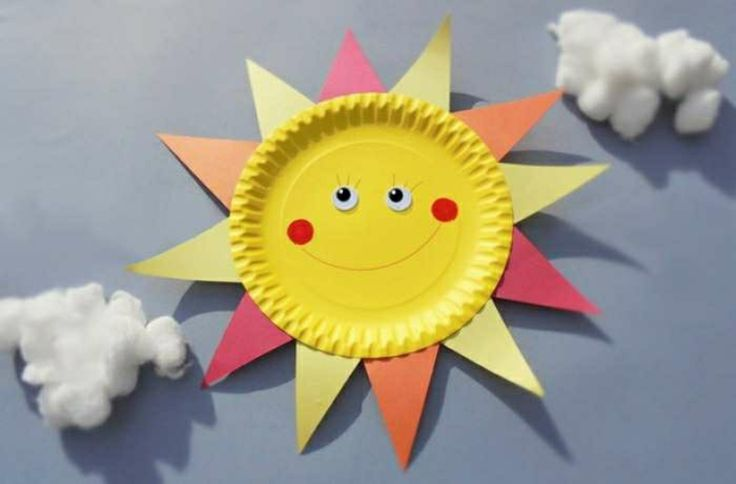 Поделка солнышко в детский сад из одноразовой тарелке 25