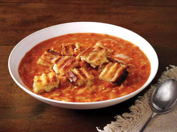 Easy Tomato Soup & Grilled Cheese Croutons Recipe : Ina Garten : Food ...