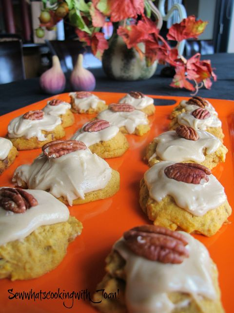 Sew what's cooking with Joan! Pumpkin Cookies with Penuche frosting!