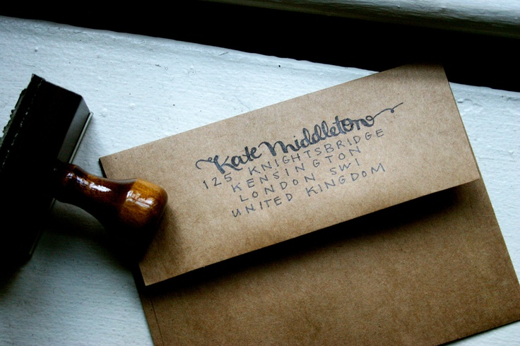 Custom Calligraphy Stamp With Ink Pad Kate Middleton Style