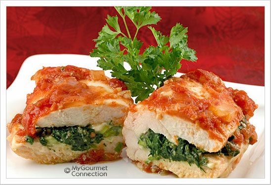 ... ! Spinach and Feta Stuffed Chicken Breasts with tangy tomato sauce