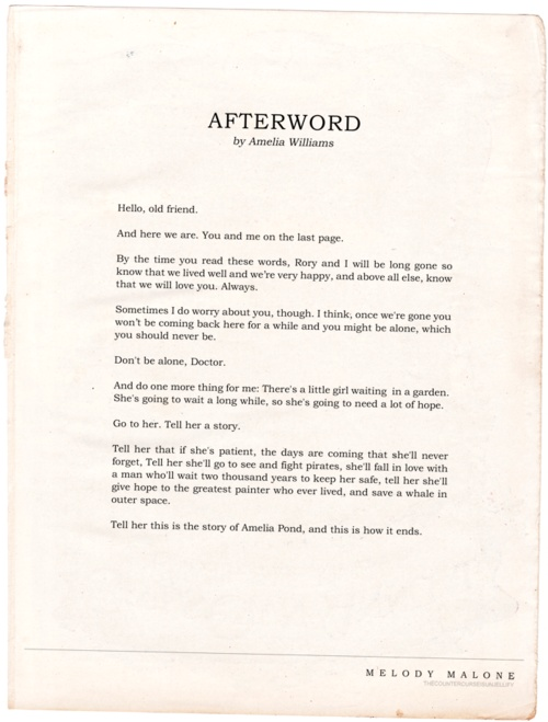 Afterword by Amelia Williams
