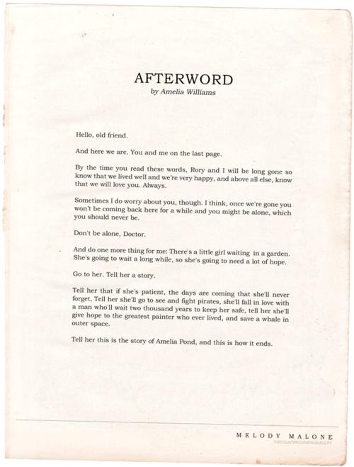 Afterword by Amelia Williams