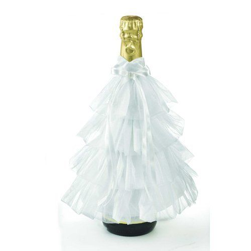 Looks like a wedding dress!. Champagne or wine bottle cover. Dress up ...