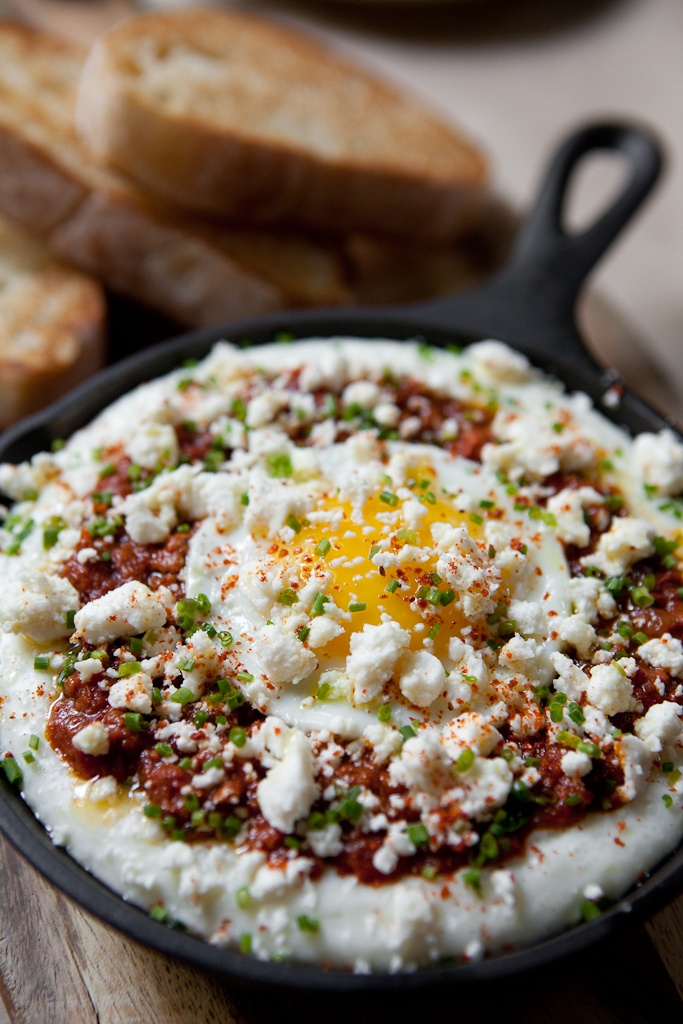 creamy grits with chorizo and baked egg