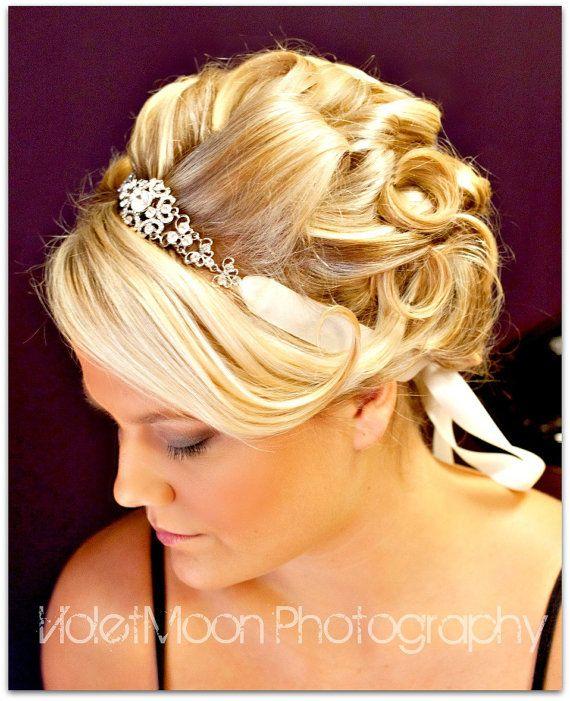 Ribbon Rhinestone Headband,wedding hair accessories,bridal headband