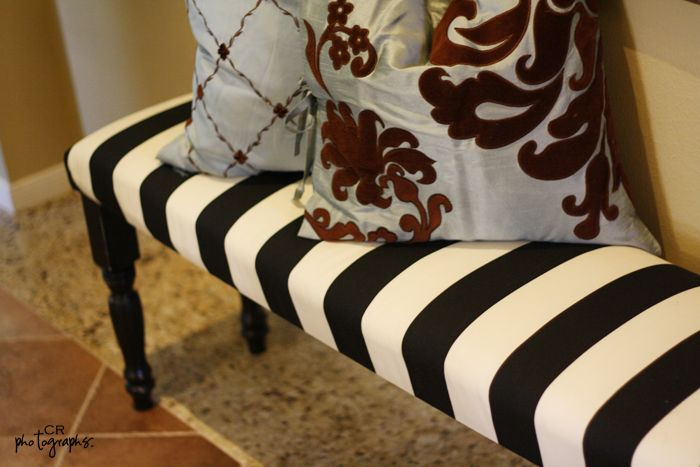 diy bench in 2hrs - built from scratch, fabric at IKEA, legs from Loew's, seat MDF.