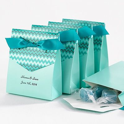 Chevron Tent Favor Box - Teal