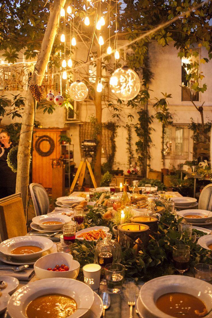 decoración de mesas de navidad: luces