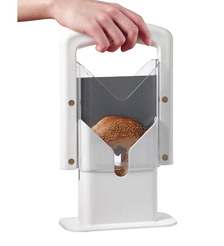 Safe And Easy Guillotine Bagel Slicer With Serrated Blade