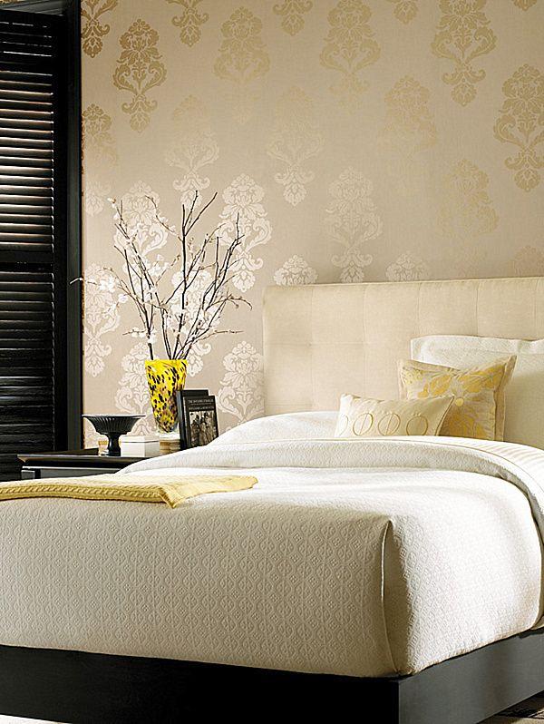 Nice wallpaper. Nice bedroom design, overall!