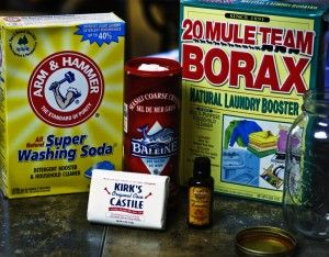 HOMEMADE DISHWASHER DETERGENT  1 c. Borax  1 c. Washing Soda  1/4 c. finely grated Castille Soap (optional) (do NOT use a soap that suds)  1/2 c. Sea Salt (optional)  30 drops Lemon Essential Oil (optional)  Citric Acid (optional)