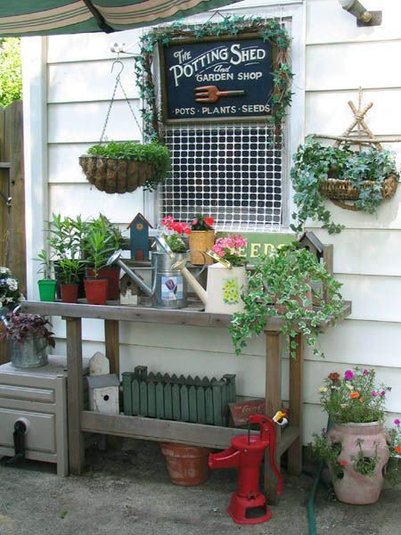 cute potting bench and accessories