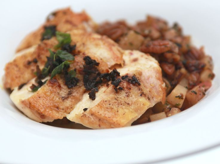 ... Roasted Chicken Breast with Pecan and Potato Hash and Spicy Brown