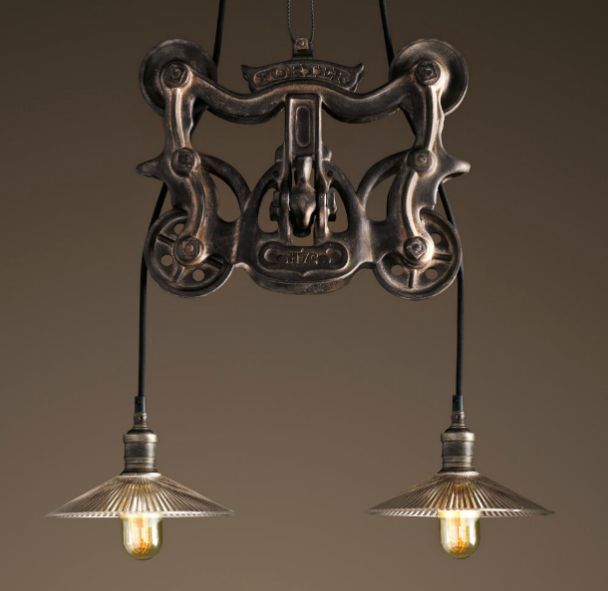 rh barn pulley light fixture to make magog decor pinterest
