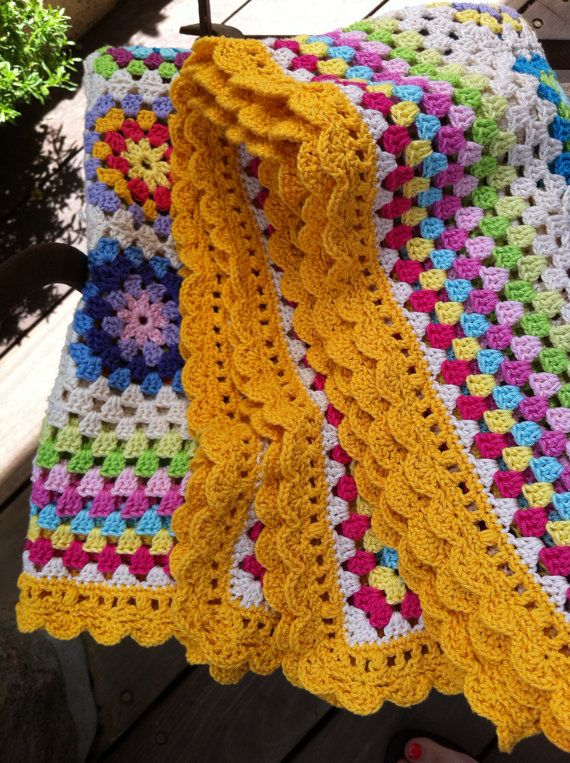 Crocheting Granny Square Blanket : crochet blanket granny square colourful by CrochetObjet on Etsy