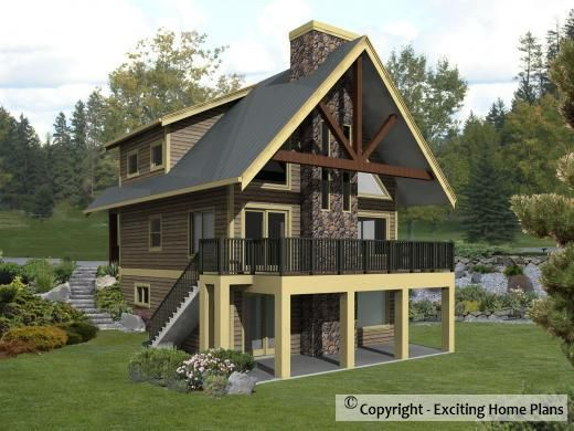 Sierra cabin plan cottage plan stilt houses pinterest for Small stilt house plans
