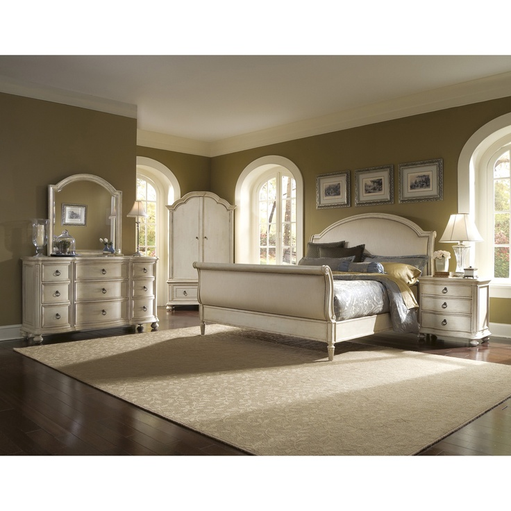upholstered sleigh 5 piece king size bedroom set