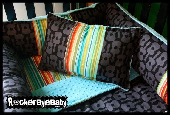 Custom punk baby 4 piece mixed prints crib bedding set for Guitar bedding for boys