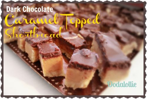 Dark Chocolate and Caramel Topped Shortbread