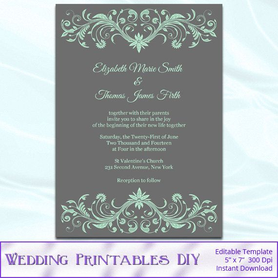 DIY Mint Green and Gray Wedding Invitations Templates - Printable Orn ...