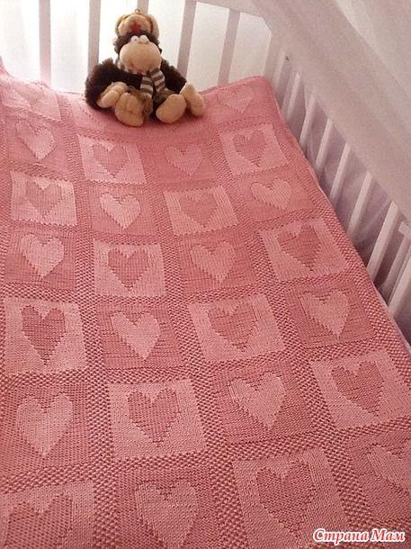 Плед с сердечками спицами теневое вязание 26