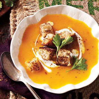 Butternut Squash Soup with Garam Masala Croutons