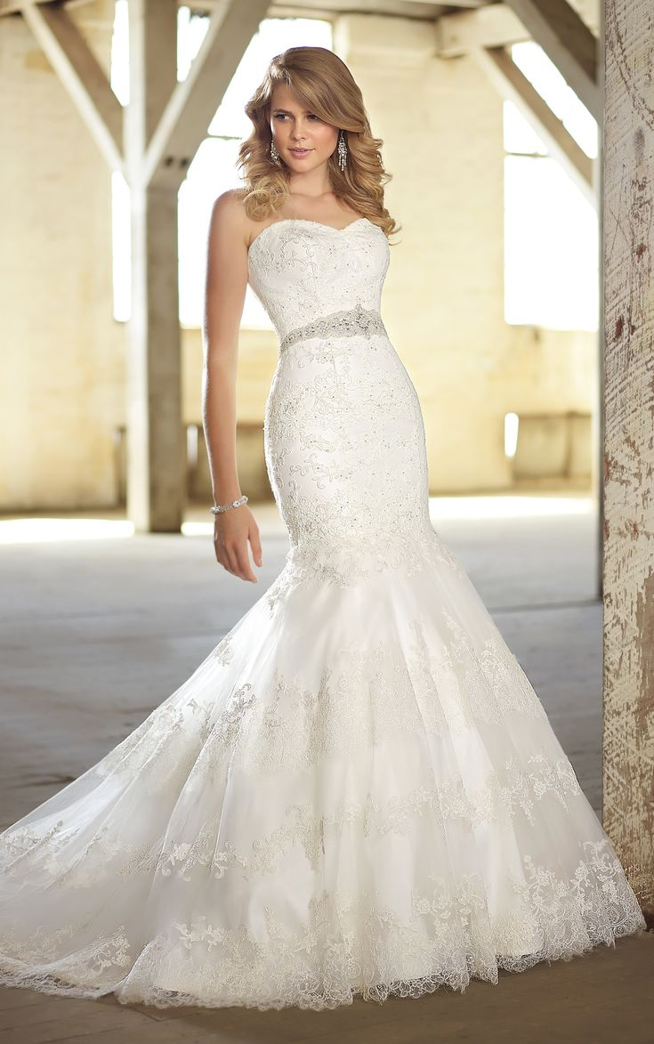 Elegant, yet modern, fit-and-flare lace wedding dress