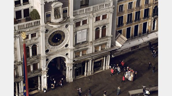 The clock in St. Mark's Square displays the time, the dominant Zodiac sign and the current phase of the moon.