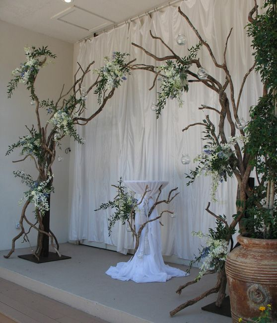 Wedding flowers branches altar ideas for kats for Altar decoration wedding