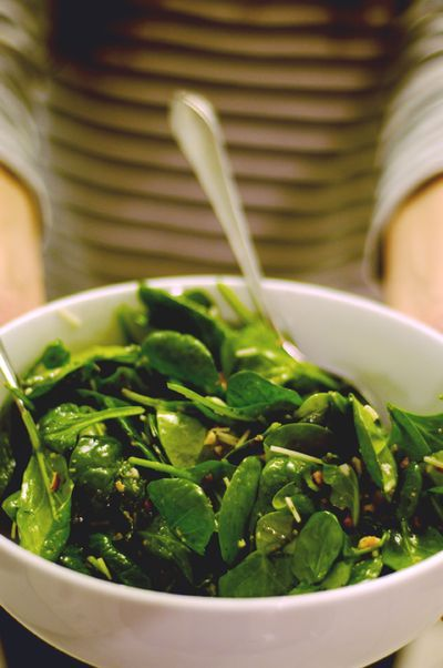 spinach salad with lemon garlic dressing--- fast and simple! I used ...