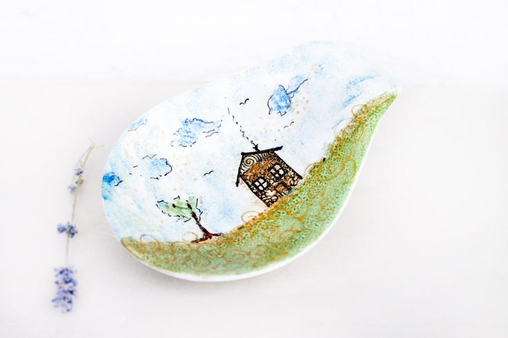 Ceramic bowl - bowl painted - House in the meadow. $25.00, via Etsy.