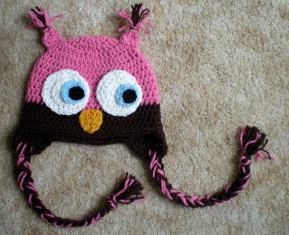Easy Crochet Animal Hat Patterns : Owl Hat, size Newborn to Adult, baby kid animal hat ...