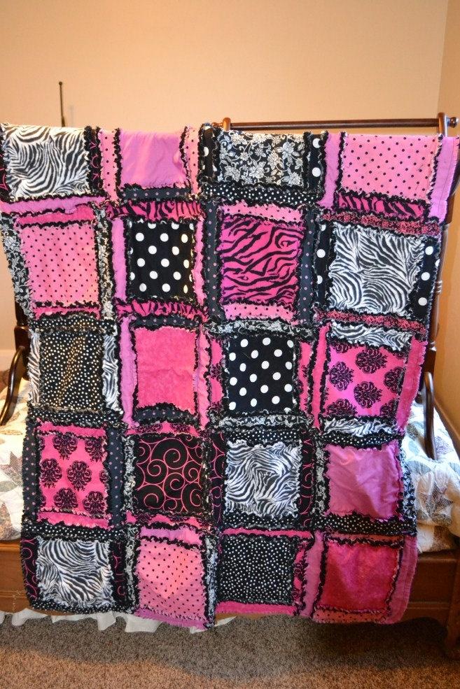 Zebra print rag quilt.
