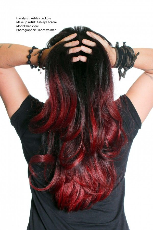 ombre hair, black and red - | Hair color | Pinterest