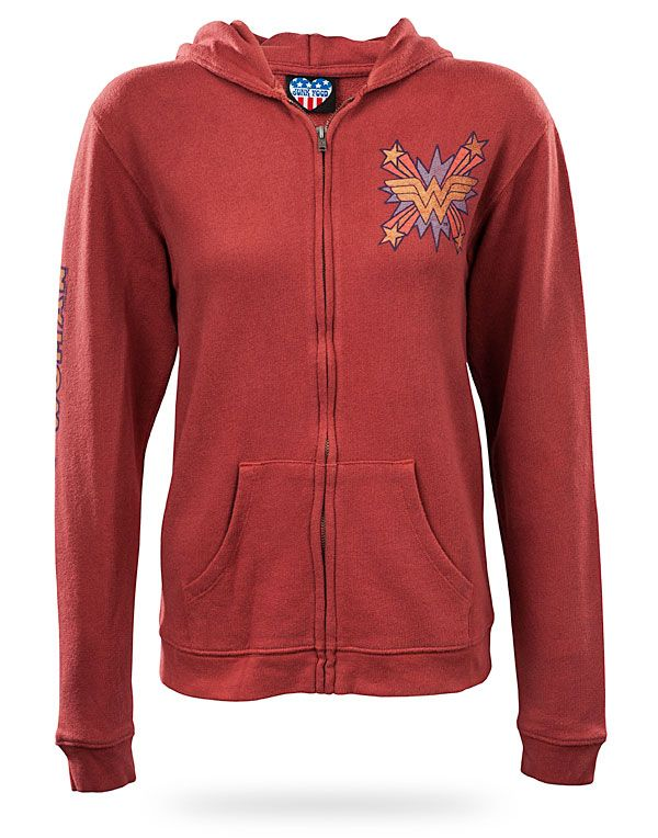 """Style"" is a relative word on this pinboard. -ThinkGeek :: Wonder Woman Retro Full-Zip Hoodie"