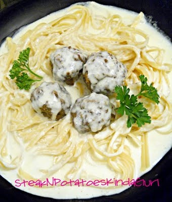 Parmesan Meatballs with Fettuccine and Alfredo Sauce