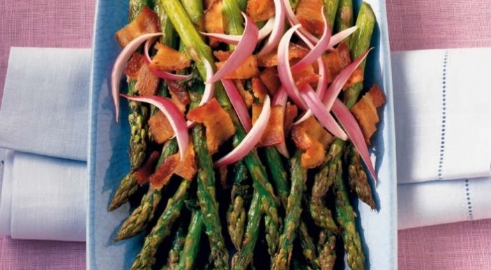 Asparagus with Sherry-Bacon Vinaigrette | grill recipes | Pinterest